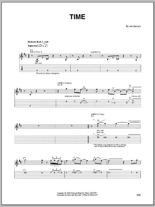 Tablature guitare Time de Joe Satriani - Tablature Guitare