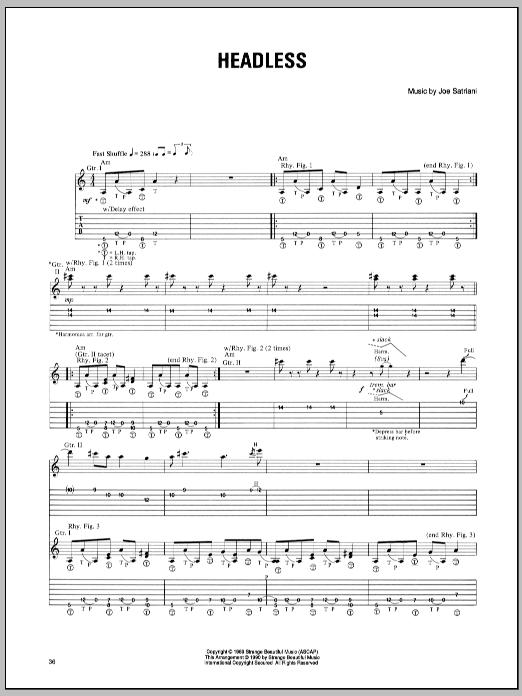 Tablature guitare Headless de Joe Satriani - Tablature Guitare