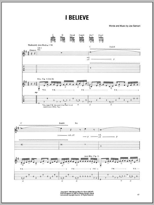Tablature guitare I Believe de Joe Satriani - Tablature Guitare