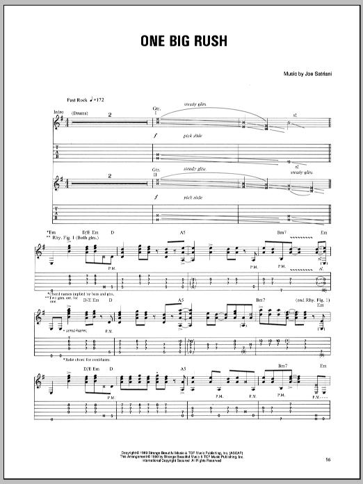 Tablature guitare One Big Rush de Joe Satriani - Tablature Guitare