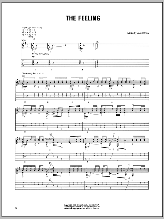 Tablature guitare The Feeling de Joe Satriani - Tablature Guitare