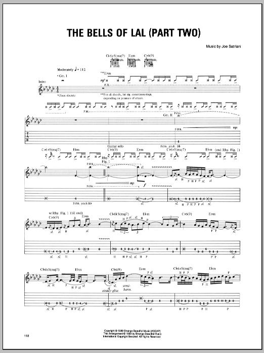 Tablature guitare Bells Of Lal (Part Two) de Joe Satriani - Tablature Guitare