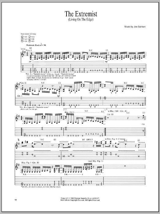 Tablature guitare The Extremist de Joe Satriani - Tablature Guitare