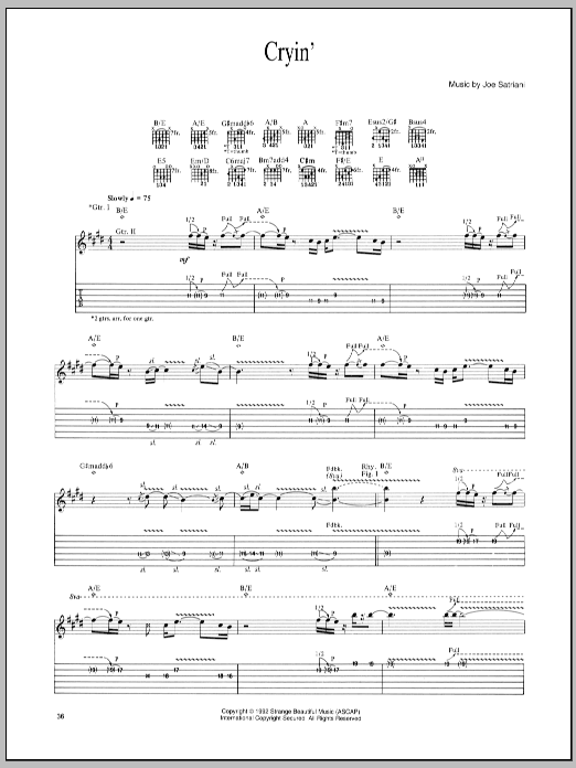 Tablature guitare Cryin' de Joe Satriani - Tablature Guitare