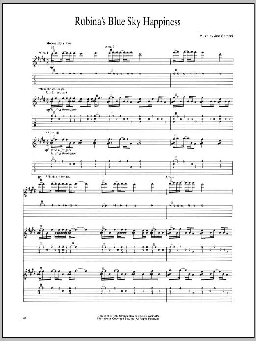 Tablature guitare Rubina's Blue Sky Happiness de Joe Satriani - Tablature Guitare