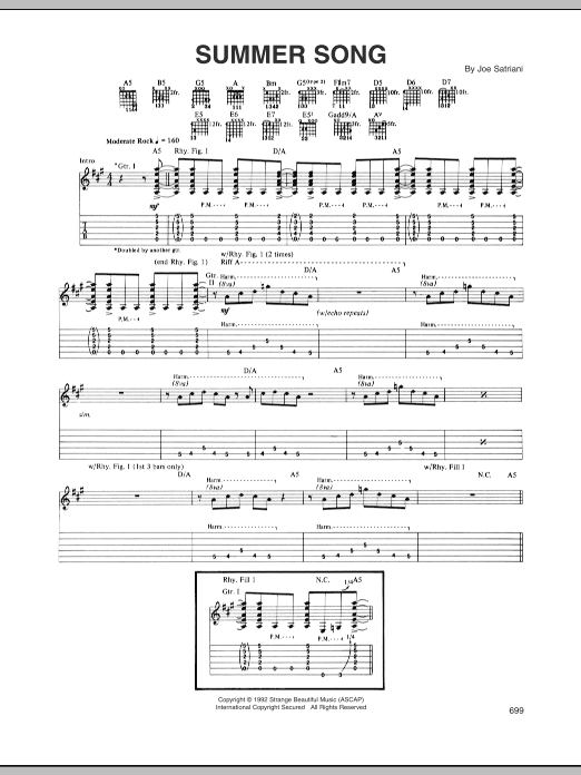 Tablature guitare Summer Song de Joe Satriani - Tablature Guitare