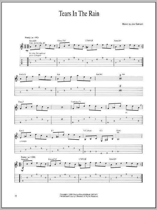 Tablature guitare Tears In The Rain de Joe Satriani - Tablature Guitare