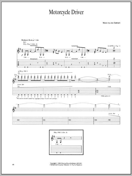 Tablature guitare Motorcycle Driver de Joe Satriani - Tablature Guitare