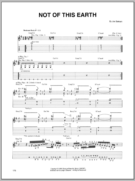 Tablature guitare Not Of This Earth de Joe Satriani - Tablature Guitare