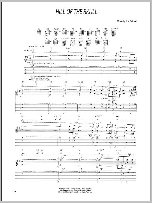 Tablature guitare Hill Of The Skull de Joe Satriani - Tablature Guitare