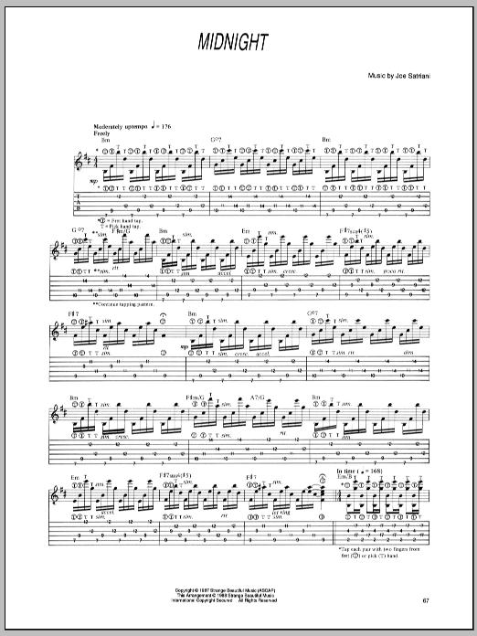Tablature guitare Midnight de Joe Satriani - Tablature Guitare