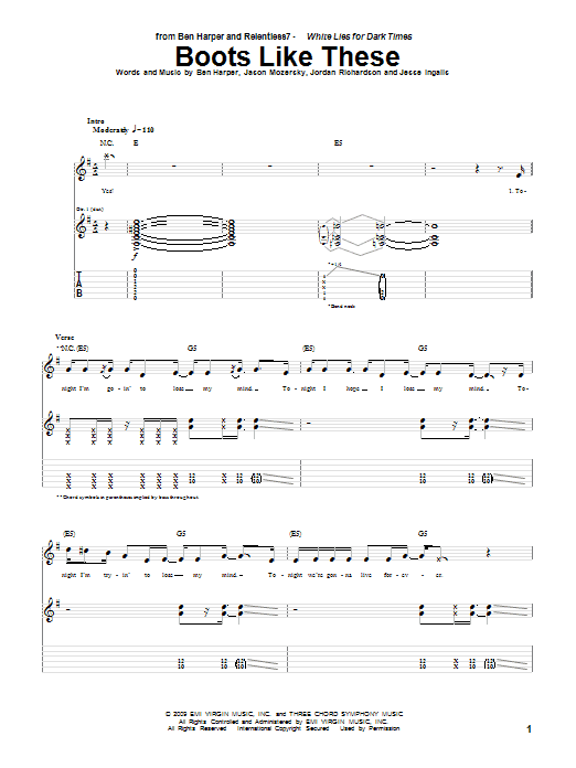 Tablature guitare Boots Like These de Ben Harper and Relentless7 - Tablature Guitare