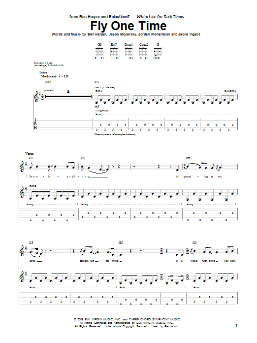 Fly One Time sheet music for guitar solo (tablature) by Jordan Richardson
