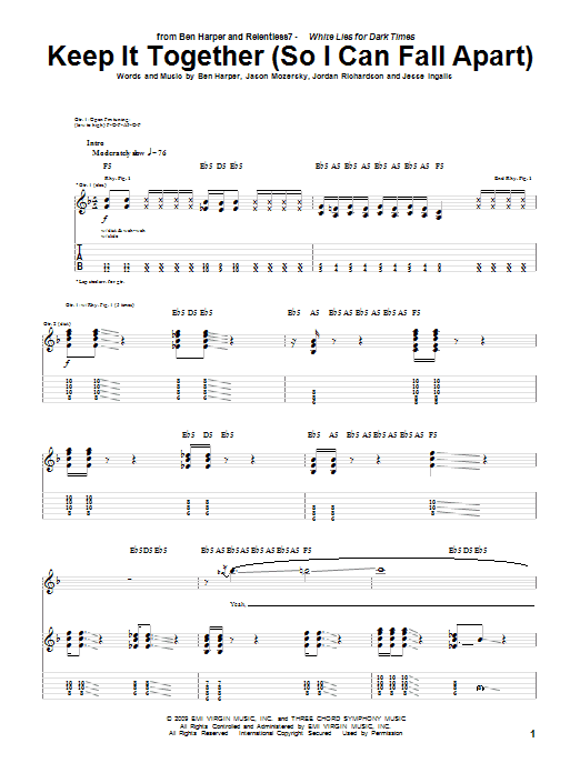 Tablature guitare Keep It Together (So I Can Fall Apart) de Ben Harper and Relentless7 - Tablature Guitare