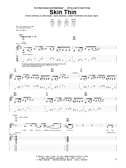 Skin Thin sheet music for guitar solo (tablature) by Jordan Richardson