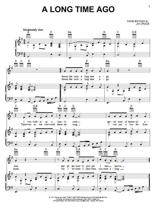 Sheet Music Digital Files To Print - Licensed Jim Croce Digital ...
