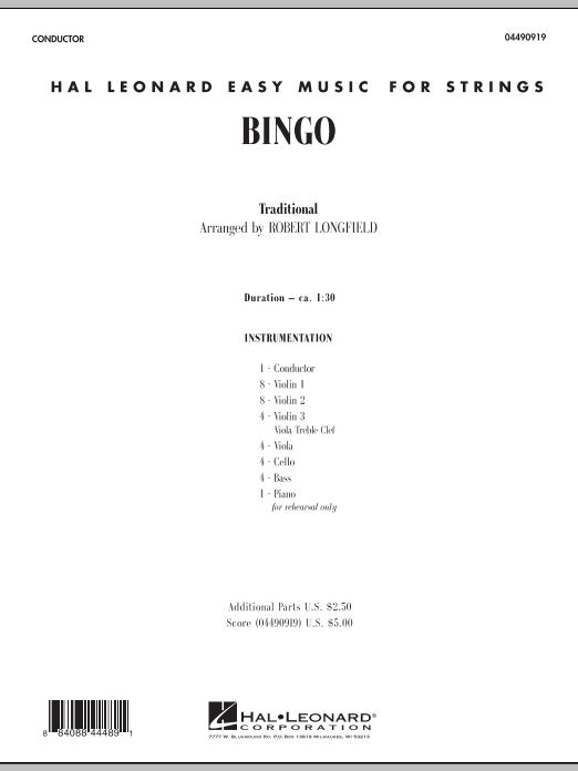Bingo (COMPLETE) sheet music for orchestra by Robert Longfield