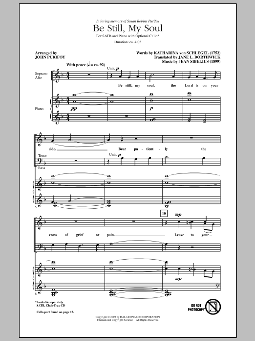 Be Still My Soul sheet music for choir and piano (SATB) by Jane L. Borthwick