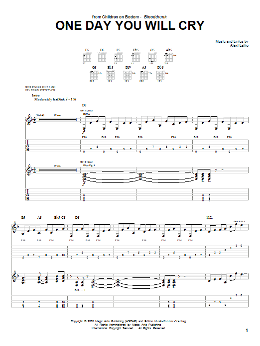 Tablature guitare One Day You Will Cry de Children Of Bodom - Tablature Guitare