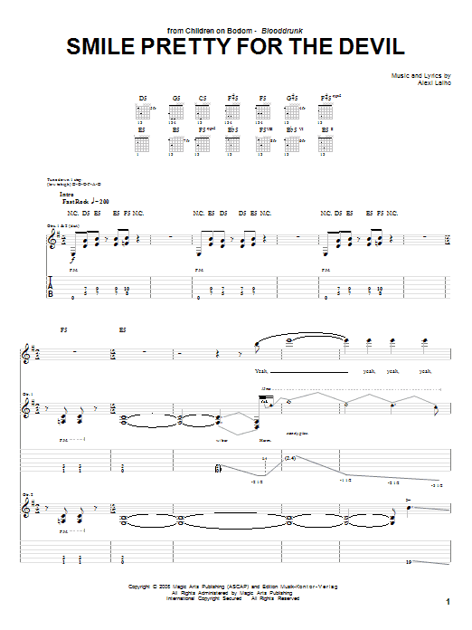 Tablature guitare Smile Pretty For The Devil de Children Of Bodom - Tablature Guitare