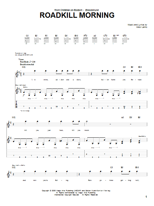 Tablature guitare Roadkill Morning de Children Of Bodom - Tablature Guitare