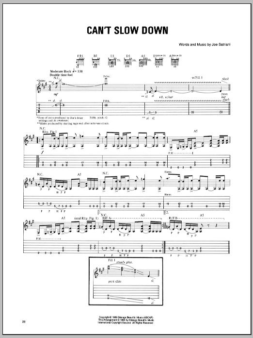 Tablature guitare Can't Slow Down de Joe Satriani - Tablature Guitare
