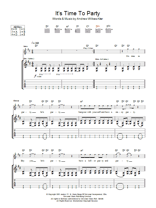 It's Time To Party sheet music for guitar solo (tablature) by Andrew Wilkes-Krier