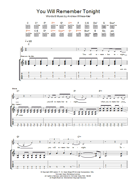 You Will Remember Tonight sheet music for guitar solo (tablature) by Andrew Wilkes-Krier