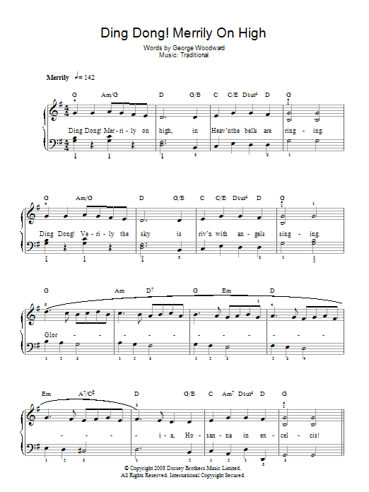Ding Dong! Merrily On High! sheet music for piano solo (chords) by George Woodward