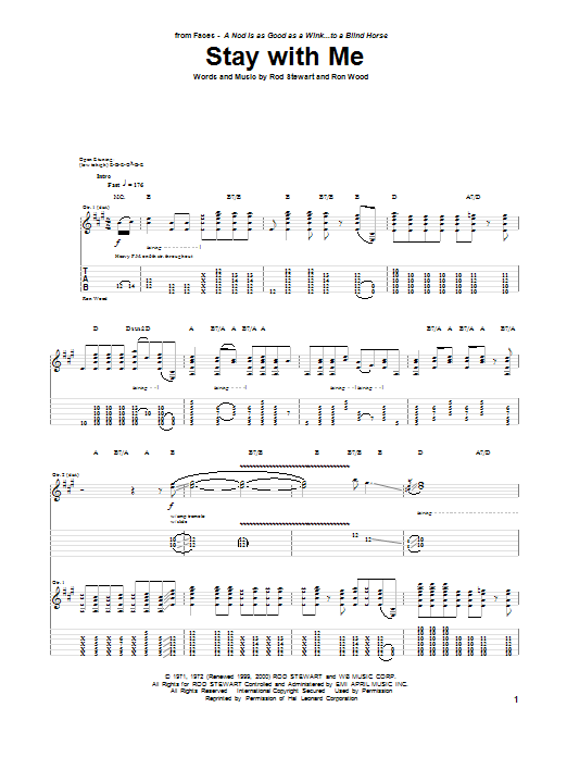 Tablature guitare Stay With Me de The Faces - Tablature Guitare