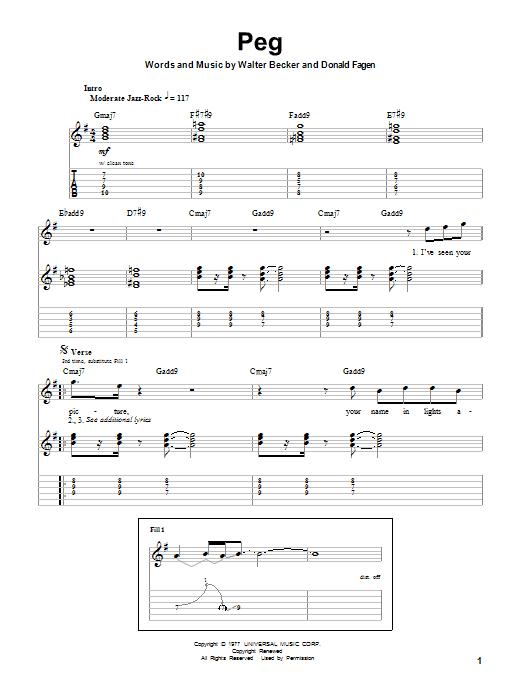 Tablature guitare Peg de Steely Dan - Tablature Guitare