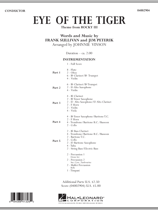 Eye Of The Tiger (COMPLETE) sheet music for concert band by Johnnie Vinson