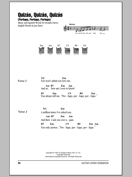 Quizas, Quizas, Quizas (Perhaps, Perhaps, Perhaps) sheet music for guitar solo (chords, lyrics, melody) by Joe Davis