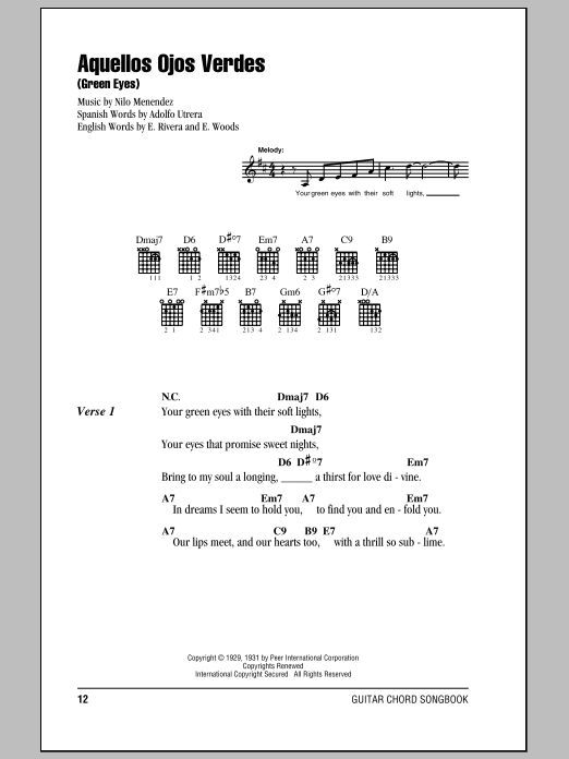 Aquellos Ojos Verdes (Green Eyes) sheet music for guitar solo (chords, lyrics, melody) by E. Woods