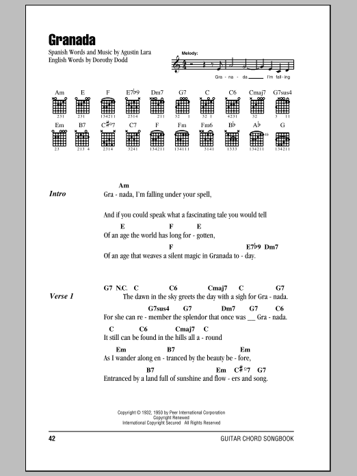 Granada sheet music for guitar solo (chords, lyrics, melody) by Agustin Lara
