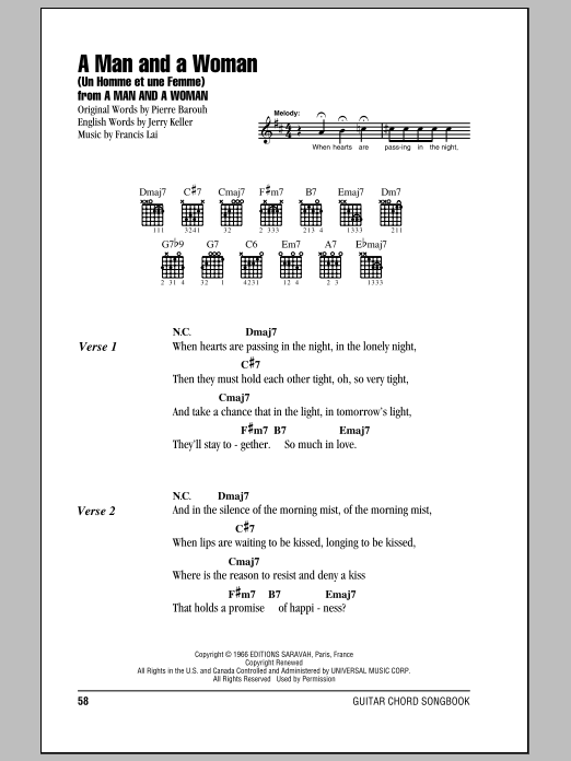 A Man And A Woman (Un Homme Et Une Femme) sheet music for guitar solo (chords, lyrics, melody) by Pierre Barouh