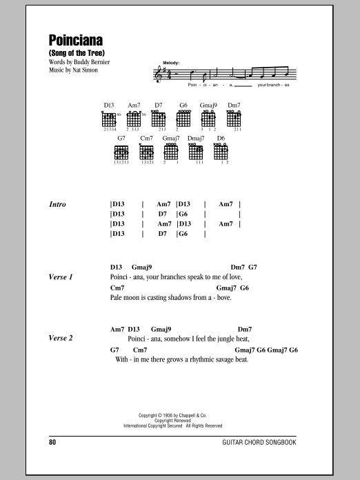 Poinciana (Song Of The Tree) sheet music for guitar solo (chords, lyrics, melody) by Nat Simon