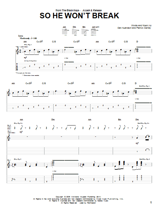 Tablature guitare So He Won't Break de The Black Keys - Tablature Guitare