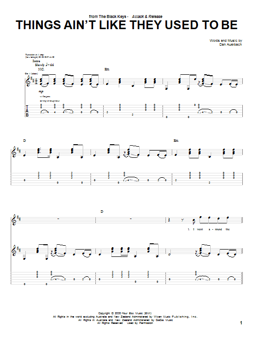 Things Ain't Like They Used To Be sheet music for guitar solo (tablature) by Daniel Auerbach