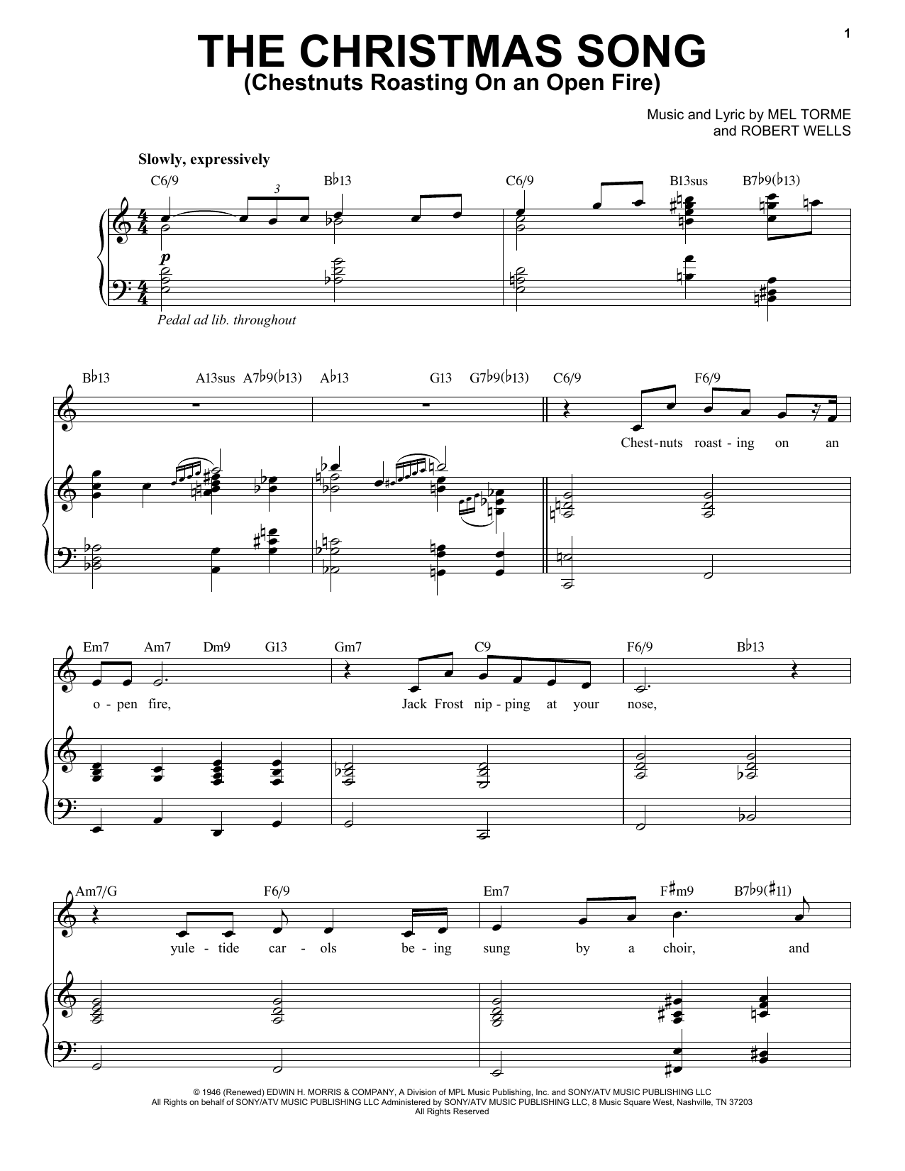 The Christmas Song (Chestnuts Roasting On An Open Fire) sheet music for voice and piano by Robert Wells
