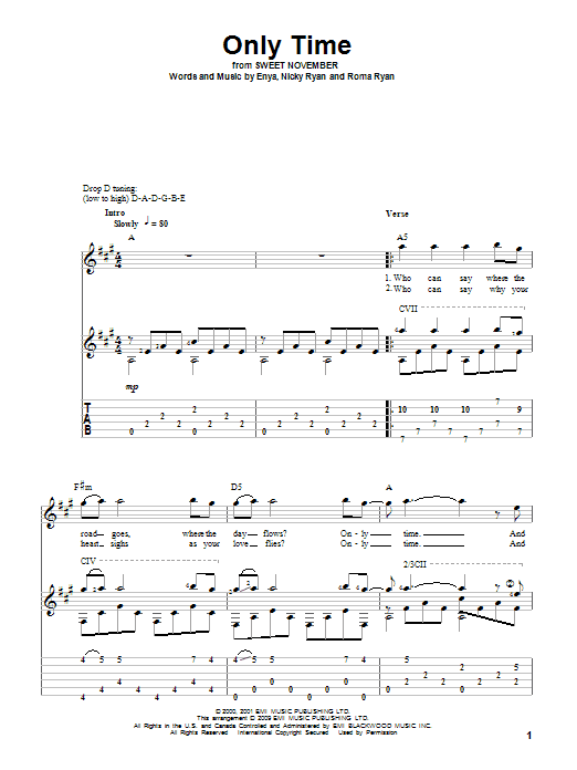Only Time sheet music for guitar solo by Roma Ryan