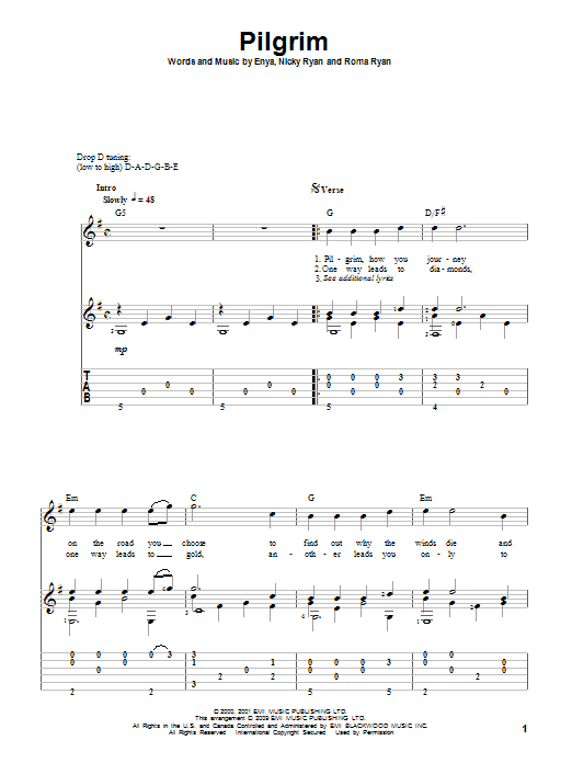 Pilgrim sheet music for guitar solo by Roma Ryan