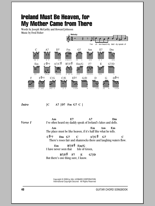 Ireland Must Be Heaven, For My Mother Came From There sheet music for guitar solo (chords, lyrics, melody) by Howard Johnson