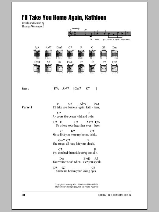 I'll Take You Home Again, Kathleen sheet music for guitar solo (chords, lyrics, melody) by Thomas Westendorf