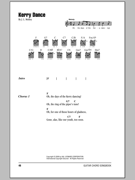 Kerry Dance sheet music for guitar solo (chords, lyrics, melody) by James Molloy