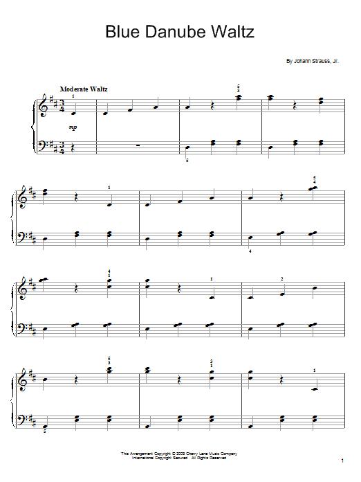 Partition piano Blue Danube Waltz de Johann Strauss, Jr. - Piano Facile