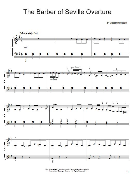 Partition piano The Barber Of Seville Overture de Gioacchino Rossini - Piano Facile