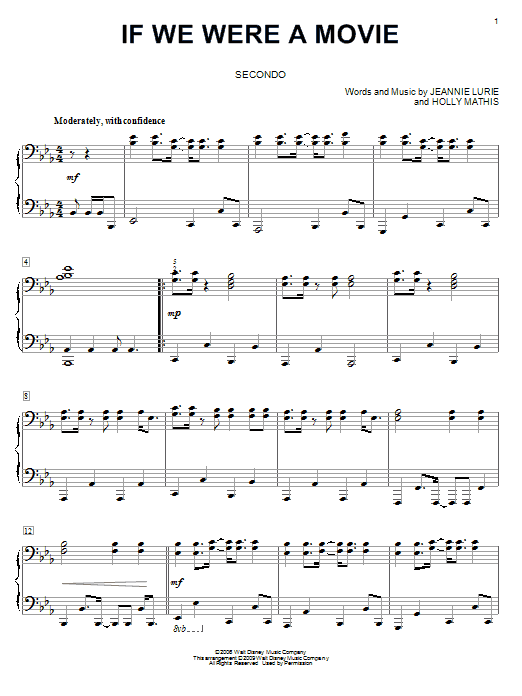 If We Were A Movie sheet music for piano four hands (duets) by Jeannie Lurie
