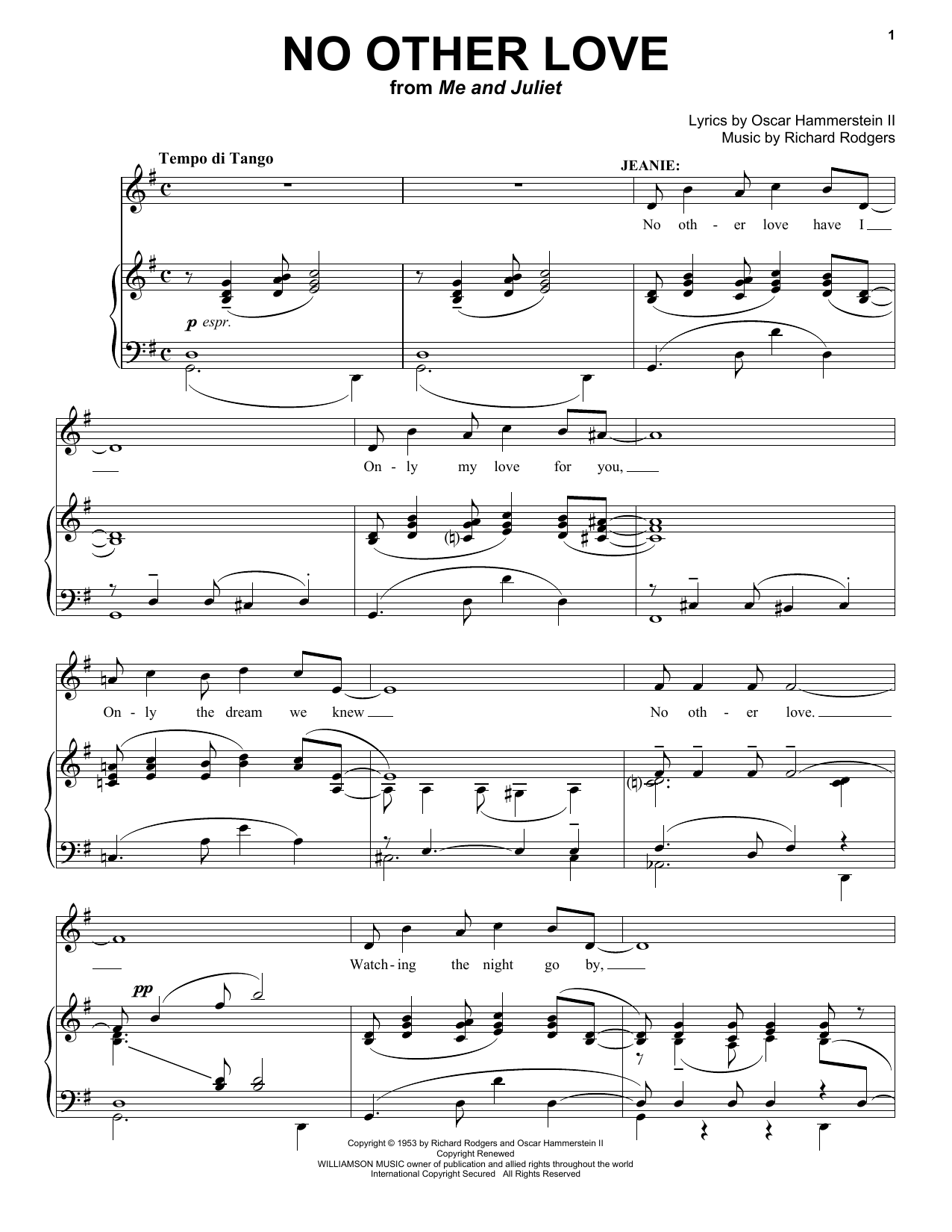 Partition piano No Other Love de Rodgers & Hammerstein - Piano Voix