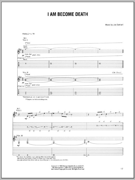 Tablature guitare I Am Become Death de Joe Satriani - Tablature Guitare